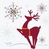 Rena com flocos de neve coloridos Imagens de Stock