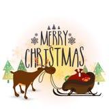 Rena com o trenó para a celebração do Natal Fotografia de Stock Royalty Free