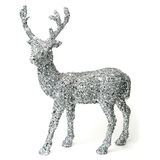 Rena de prata decorativa com lantejoulas em um fundo branco Fotos de Stock Royalty Free