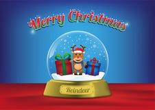 Rena do globo do Feliz Natal com árvore de Natal ilustração stock