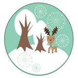 Rena do Natal com árvores do inverno Fotografia de Stock Royalty Free