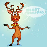 Rena do Natal com bolha do discurso Ilustração do vetor no fundo nevado Imagens de Stock Royalty Free