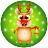 Rena do Natal com sino dourado Imagem de Stock Royalty Free