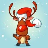 Rena do Natal na ilustração do vetor do chapéu de Santa Imagens de Stock Royalty Free