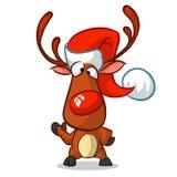 Rena do Natal na ilustração do vetor do chapéu de Santa no fundo branco Imagens de Stock