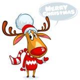 Rena do Natal no chapéu de Santa com bolha do discurso Ilustração do vetor no fundo branco Foto de Stock Royalty Free