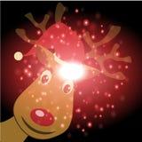 Rena e Santa Claus com fundo do Natal e vetor do cartão Fotografia de Stock Royalty Free