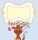 A rena engraçada com luzes de Natal tangled no Imagens de Stock