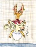 A rena engraçada de ano novo com jornal Fotografia de Stock