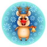 Rena engraçada do Natal com sinos dourados Fotos de Stock