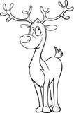 Rena engraçada - ilustração preta do esboço Imagens de Stock Royalty Free