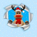 Rena engraçada no chapéu do Natal ilustração stock