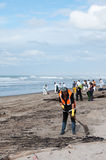 Rena oil spill clean up workers Stock Photo