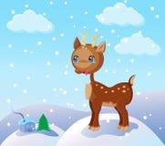 Rena pequena na neve Imagens de Stock