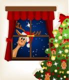 Rena que olha através do indicador no tempo do Natal Fotografia de Stock Royalty Free