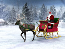 Rena que puxa um trenó com Papai Noel. Imagens de Stock