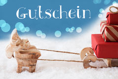 Rena, trenó, luz - o fundo azul, Gutschein significa o comprovante Fotos de Stock