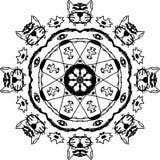 Renacimiento de los tigres con la mandala de ocho ojos ilustración del vector