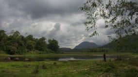 Renah政府大厦大草场湖在Lolo Gedang葛林芝火山 库存图片