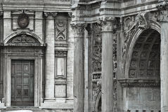 Renaissance. Graphical image of a roman arch and a renaissance temple facade Stock Photos