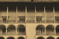 Renaissance arcades. Wawel Royal Castle in Cracow. Old style photo of renaissance arcades. The Wawel Royal Castle in Cracow, Poland Stock Image