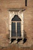 Renaissance balcony. Typical renaissance window with balcony in Rome, Italy Stock Photo