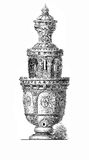 Renaissance beer pitcher decorated with medallions and portraits. Artistic beer tankard with medallions and portraits, XVI century Royalty Free Stock Photos