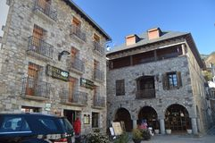 Renaissance Buildings Of The 16th Century With Half-point Arch Stools In A Square In Bielsa Village. Nature, History, Architecture. December 29, 2014. Bielsa stock photography