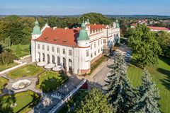 "Renaissance castle in Baranow, Poland. Renaissance castle, palace in Baranow Sandomierski in Poland, often called ""little Wawel`. Aerial view stock photo"