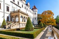 Renaissance castle Konopiste with park near town Benesov nation. Al cultural landmark, Central Bohemia region, Czech republic royalty free stock image