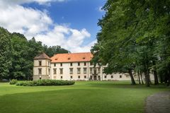 Renaissance castle in sucha beskidzka, a magnate residence of subsequent owners of sucha estates stock images