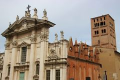 The Renaissance cathedral San Pietro in Mantua, Italy. The cathedral San Pietro on the famous Renaissance square Piazza Sordello in Mantua, Italy, Southern Royalty Free Stock Photo