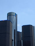 Renaissance Center close-up Detroit. DETROIT, MI - JULY 6: The Renaissance Center, shown here in downtown Detroit on July 6, 2014, houses the world headquarters royalty free stock images