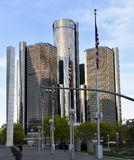 The Renaissance Center. This is a Spring picture of the iconic Renaissance Center located in Detroit, Michigan in Wayne County.  This complex is a group of seven Royalty Free Stock Photography