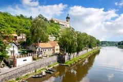 Renaissance Chateau and Church of Sts. Peter and Paul, Labe river, Melnik, Czech Republic. CZECH REPUBLIC, MELNIK - APR 27, 2016: Renaissance Chateau and Church Stock Image