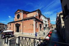 The Renaissance church of San Felice in the district of Cannaregio, seen from the bridge over the river of the same name.  royalty free stock photo