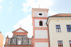 Renaissance church with tower in Pisek Royalty Free Stock Photography