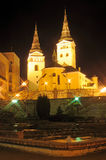 Renaissance church in Zilina. Holy Trinity Cathedral in Zilina, Slovakia. Night photo royalty free stock images