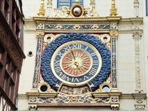 Renaissance clock on rue du gros horloge, Rouen Stock Photography