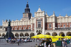 The Renaissance Cloth Hall in Krakow, Poland. The Renaissance Cloth Hall `Sukiennice` in Main Market Square in Krakow, Poland with the monument of great Polish royalty free stock photography