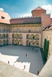 Renaissance Courtyard of Wawel Castle in Krakow Stock Images