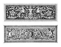 Renaissance decorative borders. Two richly decorated baroque typographic borders with mythological figures and floreal motives Royalty Free Stock Photos