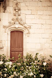 Renaissance door. With a garden in the foreground Royalty Free Stock Image