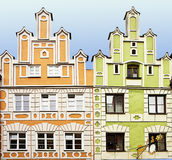 Renaissance facade houses in Landshut, Germany painted in bright Royalty Free Stock Image