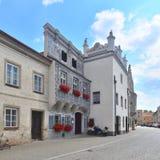 Renaissance facades of houses in Slavonice, Czech republic Stock Photos