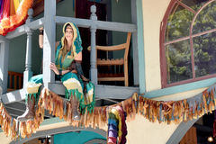 Renaissance Fair. A gypsy sitting on top of a deck looking down at the Bristol Renaissance Fair in Bristol, Wisconsin Royalty Free Stock Photo
