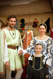 Renaissance Family. Family in Renaissance costumes representing Cosimo I de Medici, Eleonora di Toledo and the daughter Maria de Medici during the celebration of stock photos