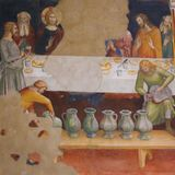 Fresco in San Gimignano - Last Supper Stock Images