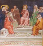 Fresco in San Gimignano - Jesus in the Temple. Renaissance Fresco depicting Jesus Christ, as a boy among the Doctors in the Temple of Jerusalem, in the Royalty Free Stock Images