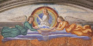 Fresco in San Gimignano - Saint Fina. Renaissance Fresco depicting Saint Fina and Two Angels in the Collegiata or Collegiate Church of San Gimignano, Italy Royalty Free Stock Images